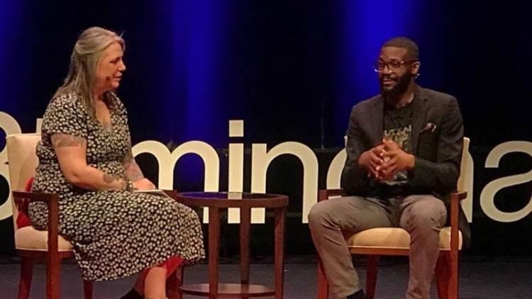 Rebecca Dobrinski interviewing Mayor Randall Woodfin.