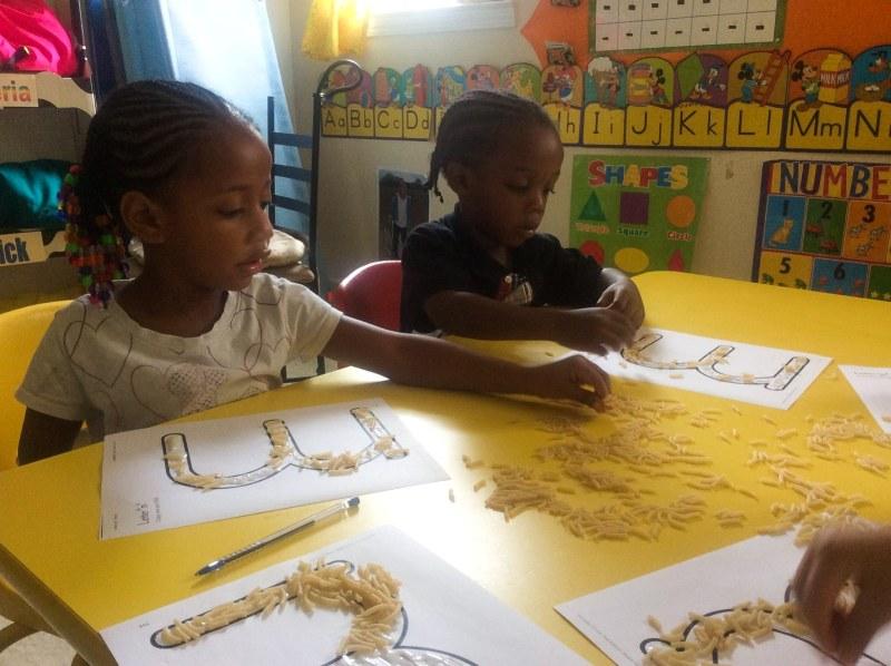 Children Making Macaroni Art