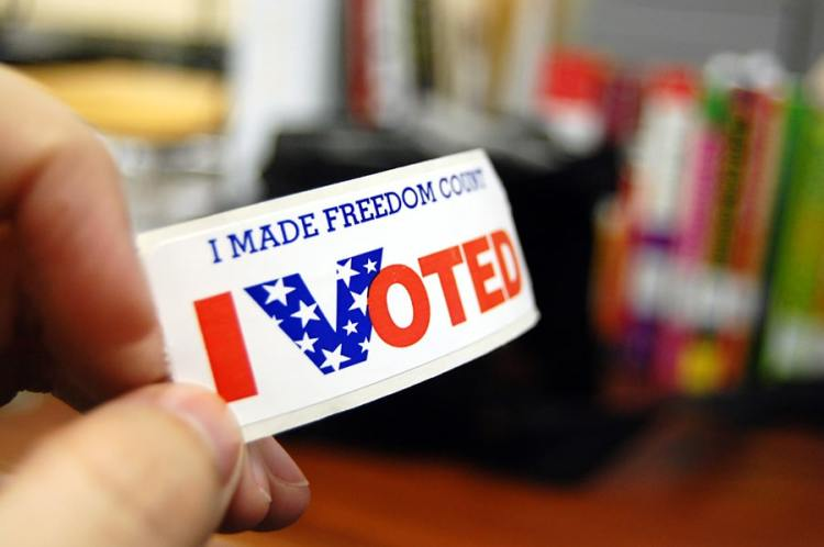 """I made freedom count I voted"" sticker"