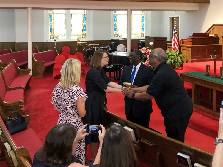 Kirsty William, Welsh Minister for Education and Sian Lewis CEO of The Urdd visit 16th Street Baptist Church in Birmingham, Alabama
