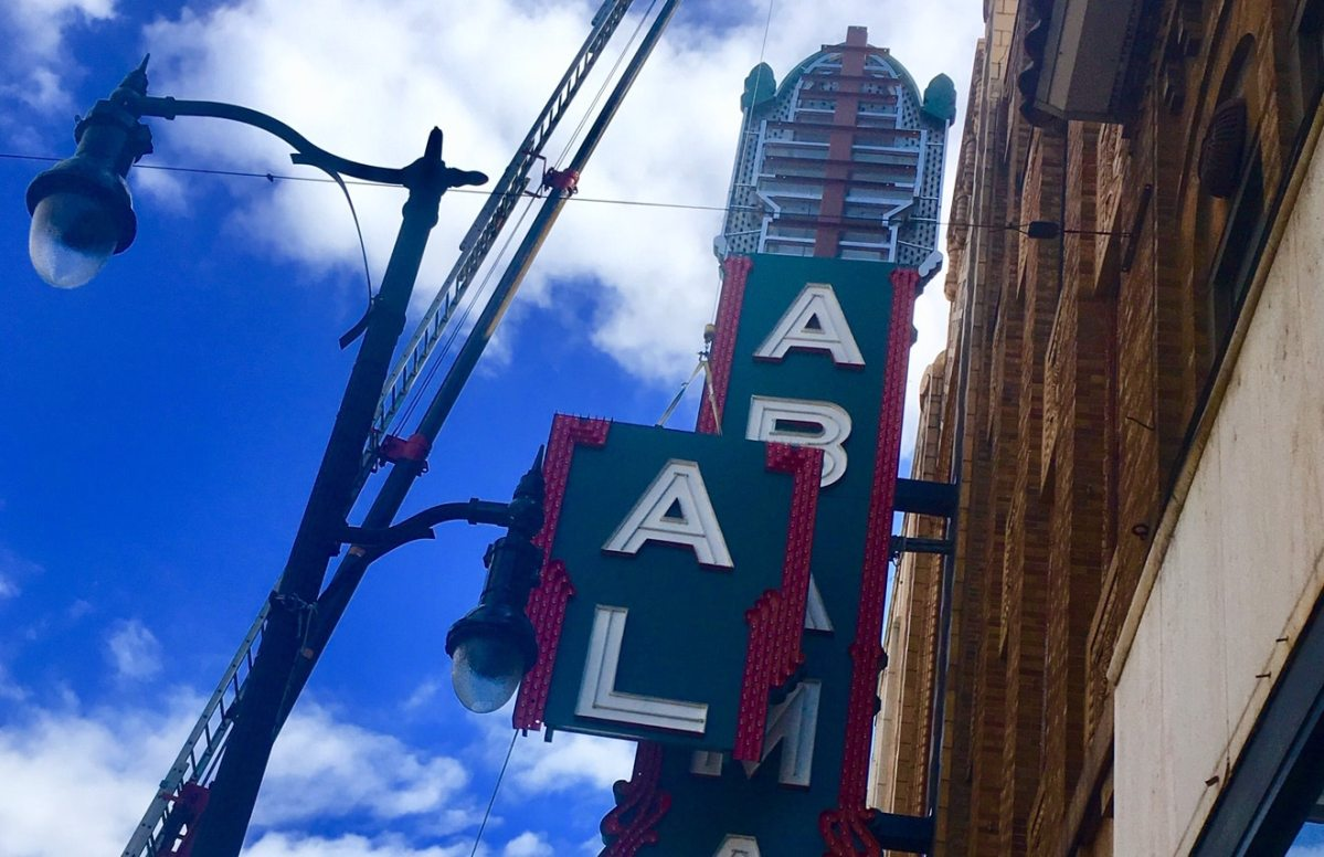 Birmingham's iconic  ALABAMA Theatre sign is back!  Exclusive video of the A and L lifted into place