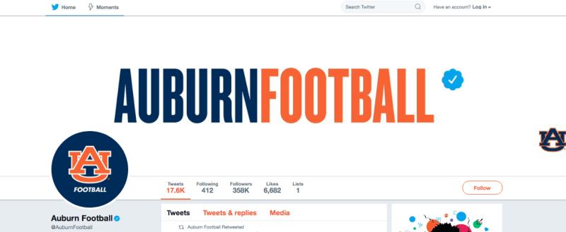 Auburn Football Twitter account