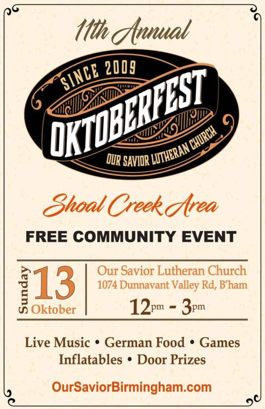 The poster for the 11th annual Oktoberfest at Our Savior Lutheran Church