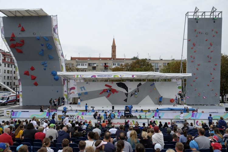 A large display of a bouldering and rock climbing walls