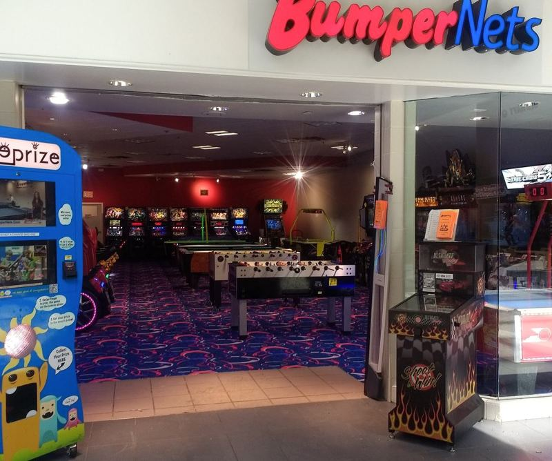 Storefront view of BumperNets arcade