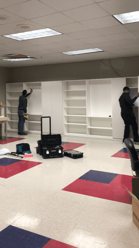 Closets being installed at Carver High School