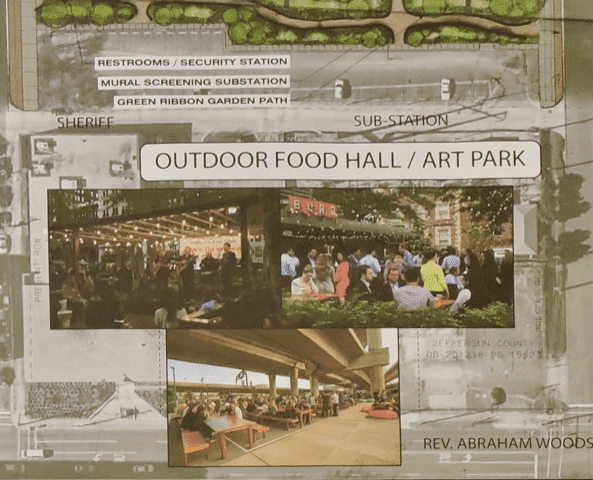 Outdoor food hall / art park