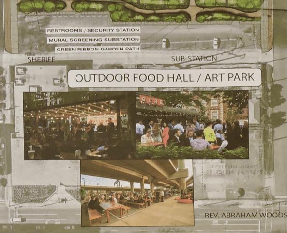 Outdoor food hall / art park