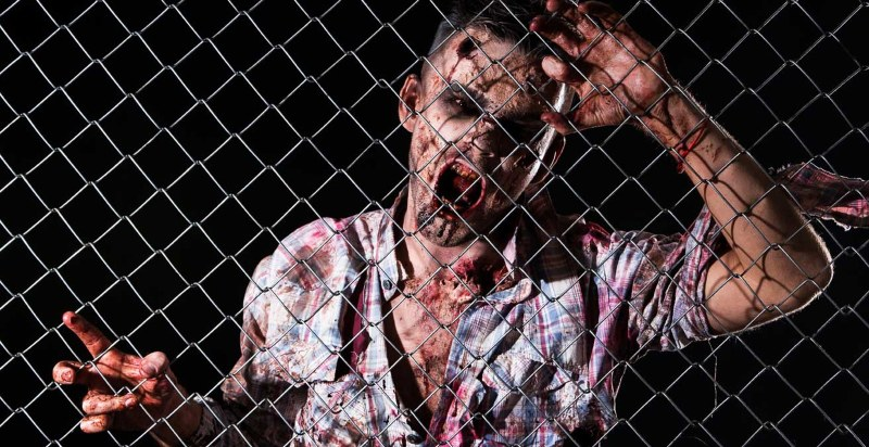 Zombie Snarls Through Fence