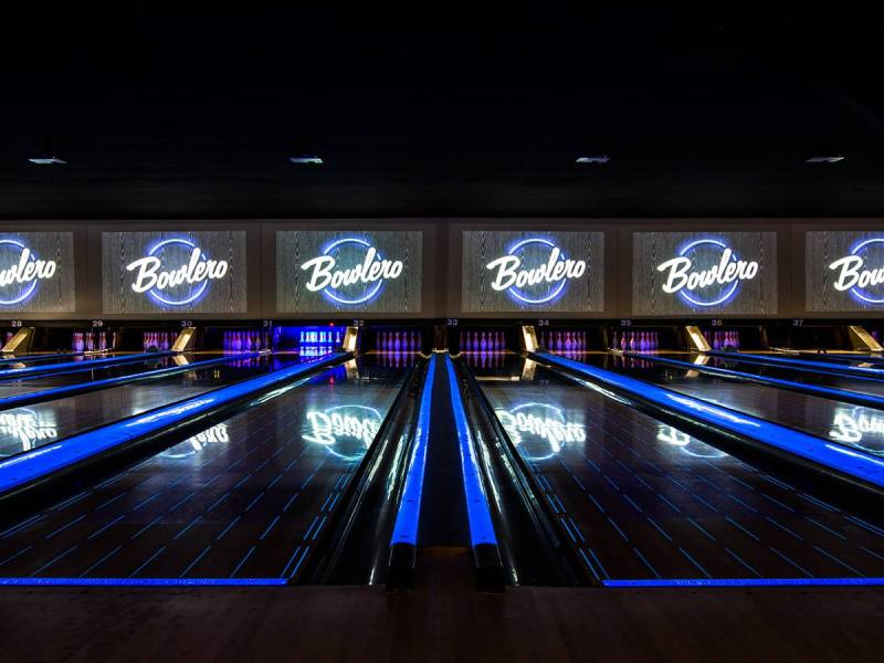 View of bowling lanes