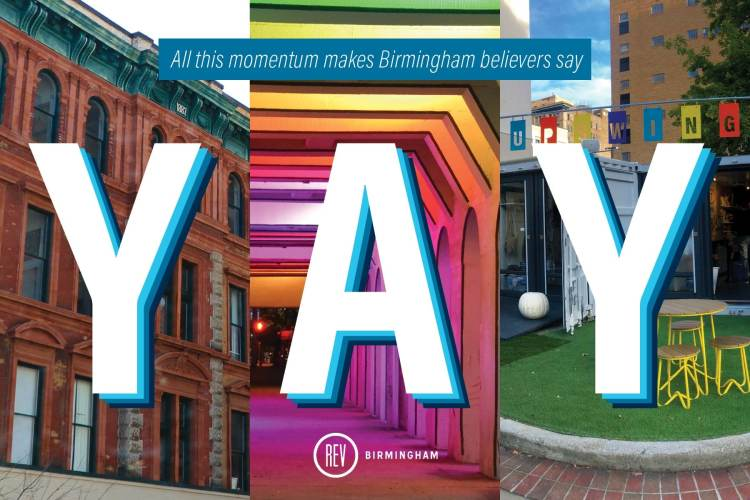 Photo collage of different places in Birmingham.