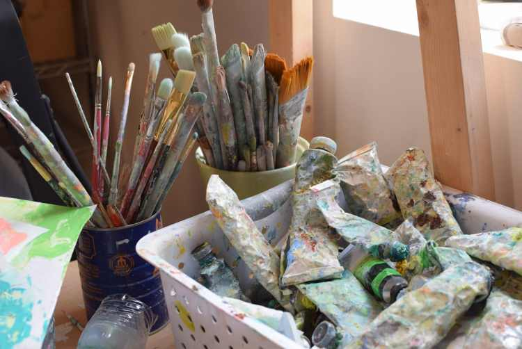 Art supplies at MAKEbhm, site of one of the local art shows in Birmingham this holiday season