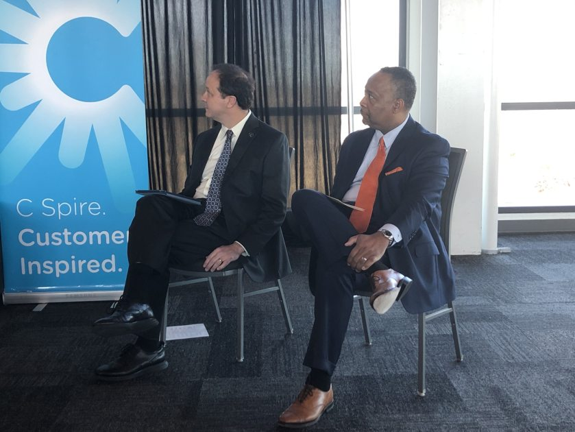 Execs at an announcement about Gigabit internet coming to Birmingham and beyond