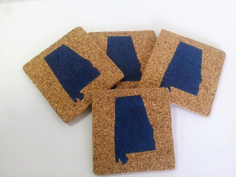 Birmingham, Etsy, lilymagnoliaboutique, coasters, Alabama, gifts, stocking stuffers, cork