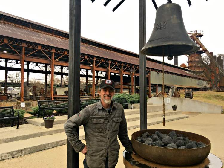 Marshall Christie of Sloss Metal Arts with the Alabama Bicentennial Children's Bell