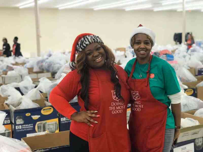 The salvation army offers free holiday meals.