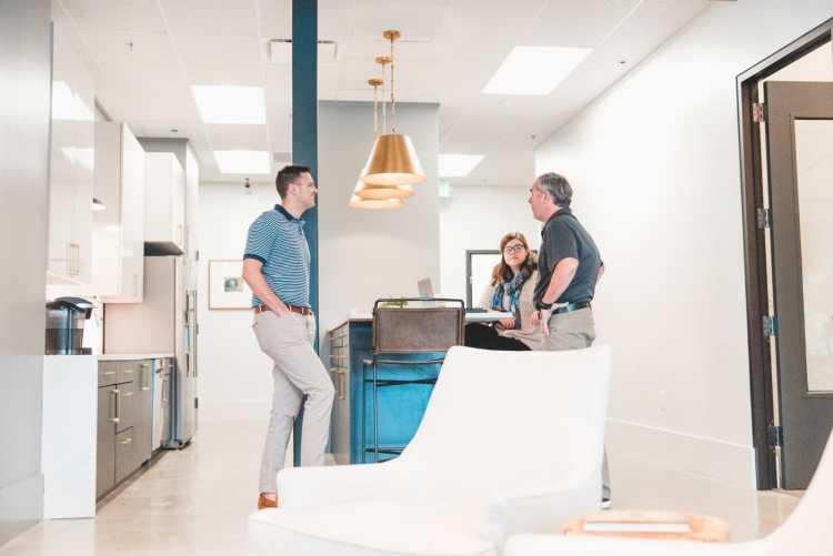 The kitchen area of ARC Realty's new Stadium Trace Village office