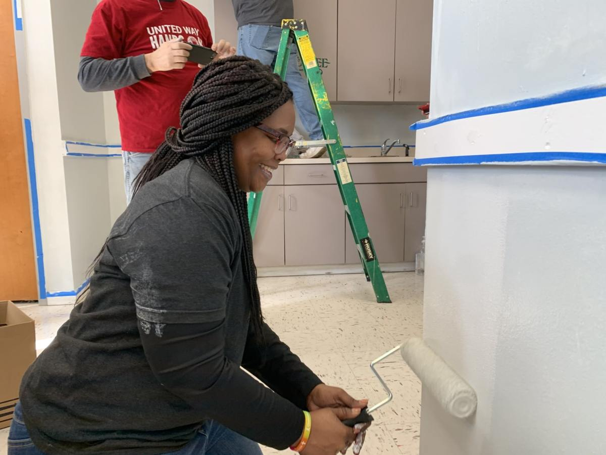 United Way Hands On and Enterprise team up on MLK Day to create a coffee shop at McCoy Center