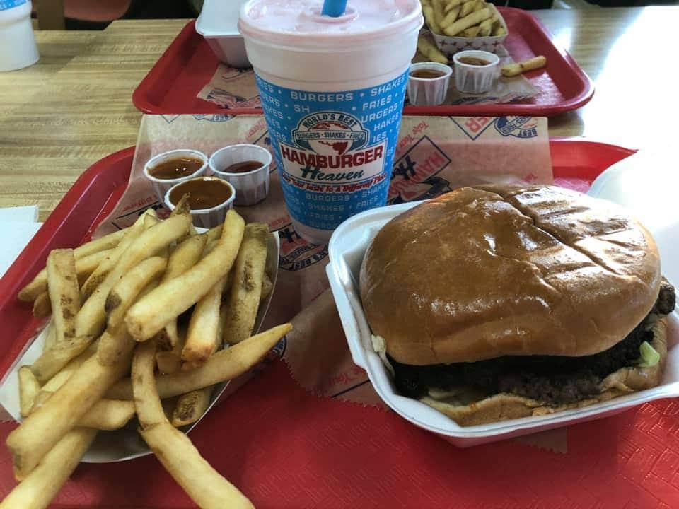 Burger, fries and shake at Hamburger Heaven