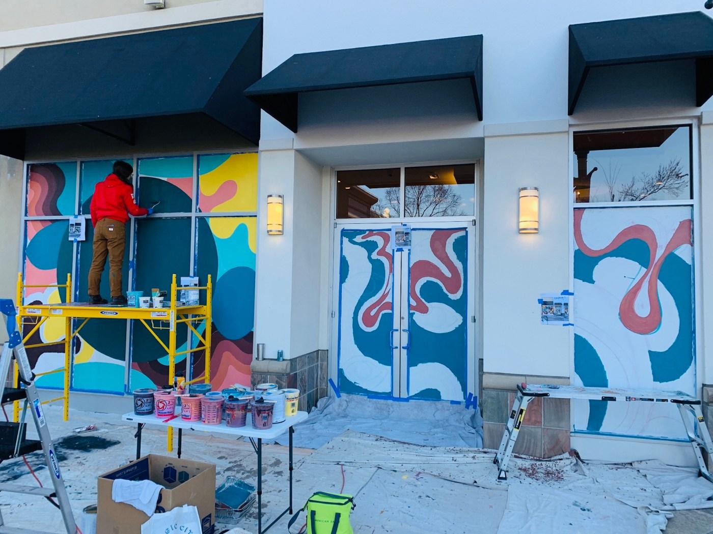 bendyknees design company painting the Eye Movement Mural