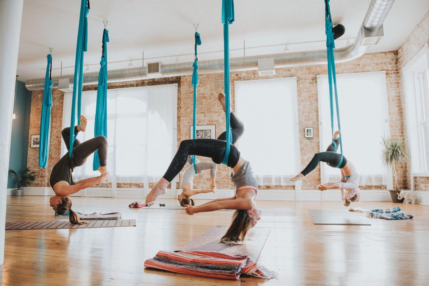aerial yoga via be studio
