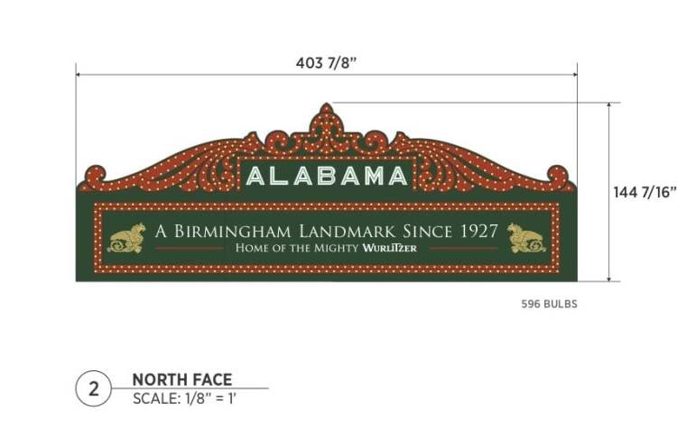 North face of the new marquee at The Alabama Theatre