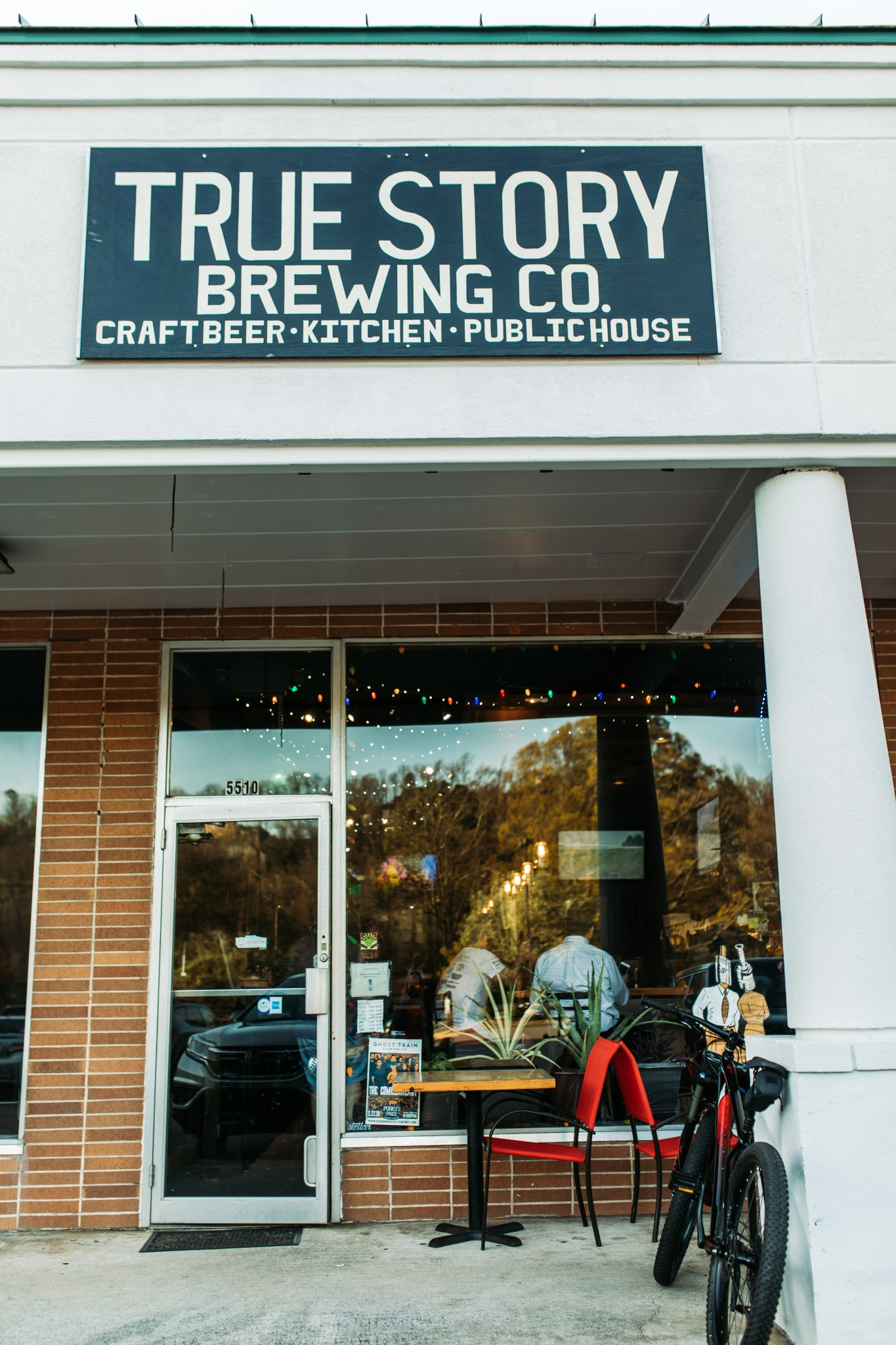 front of true story brewing co