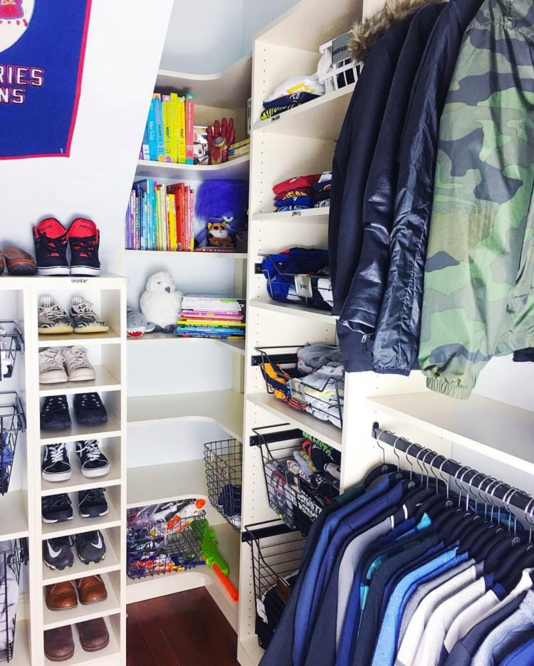 organized teen closet with toys, books, shoes and clothes