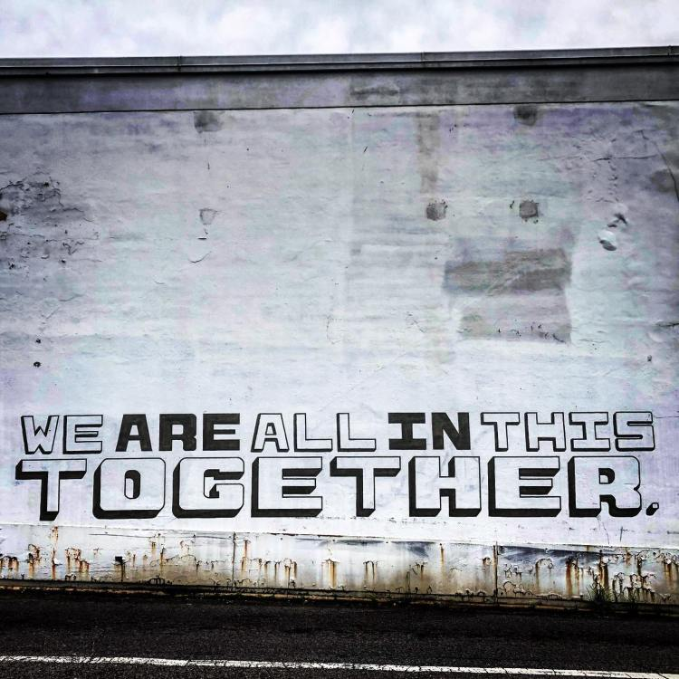 We are all in this together mural, painted by Shawn Fitzwater