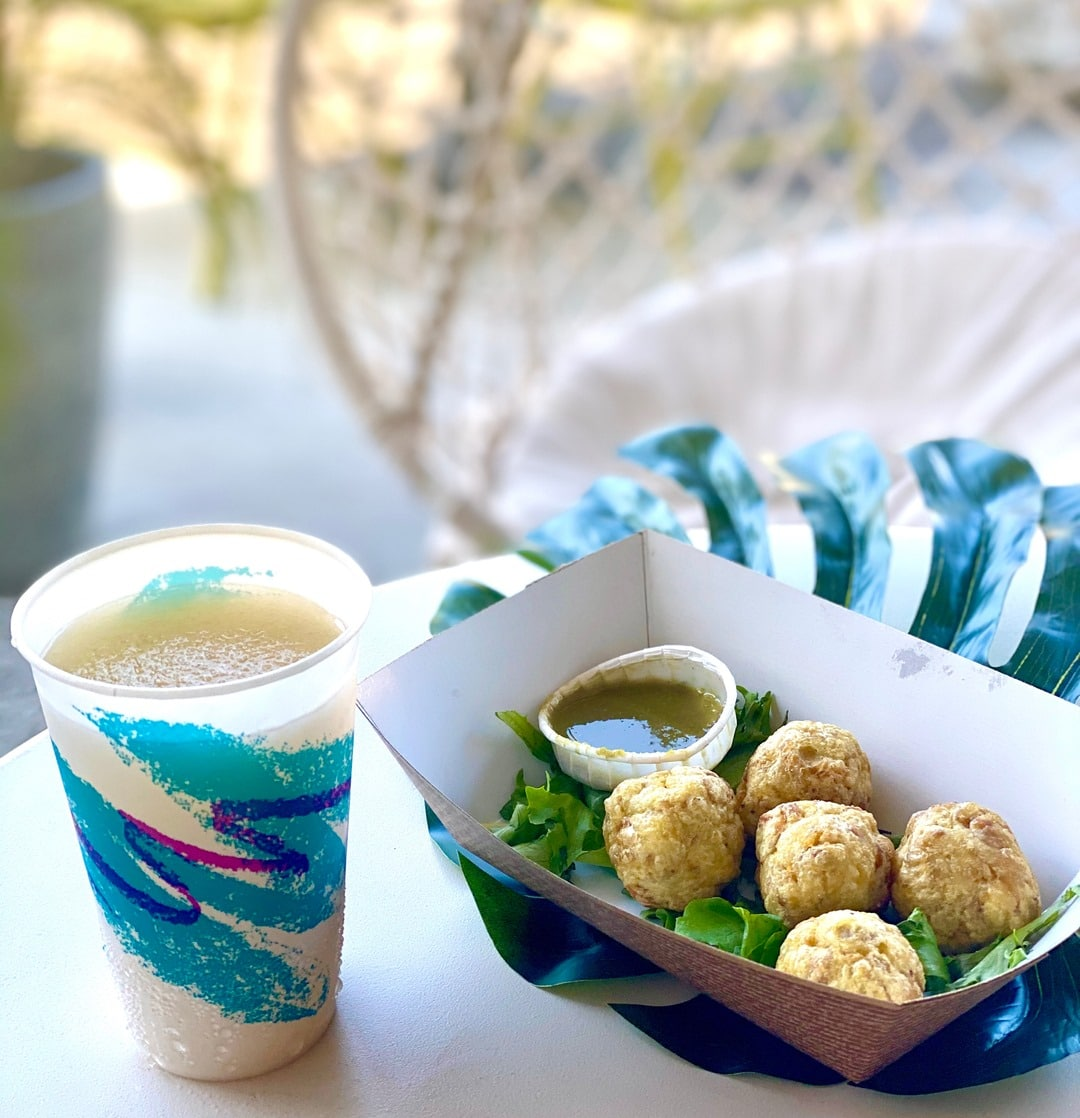 Mofongo balls served with a frozen drink