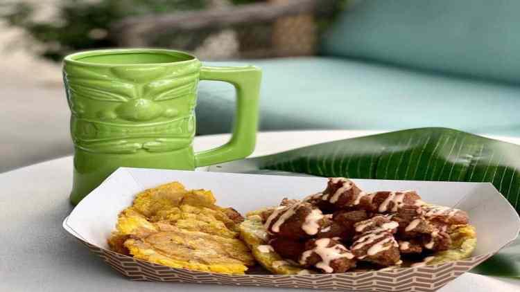 Tiki mug and plantain chips at Tropicaleo