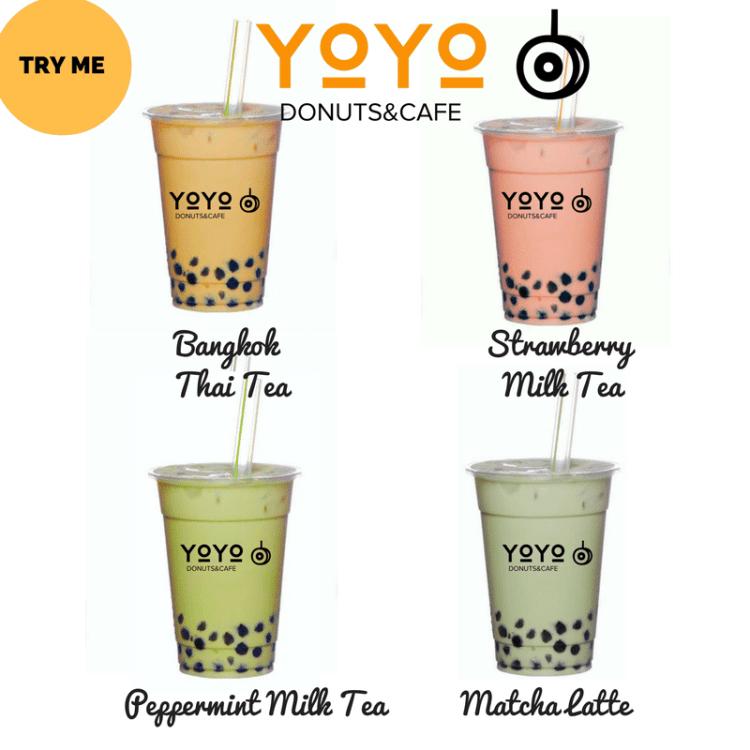YoYo Donuts promoting their milk tea