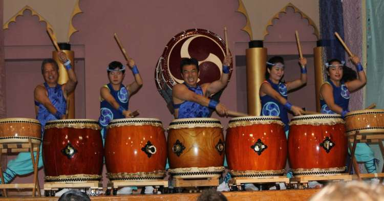 Drummers performing at an Alabama Asian Cultures Foundation event