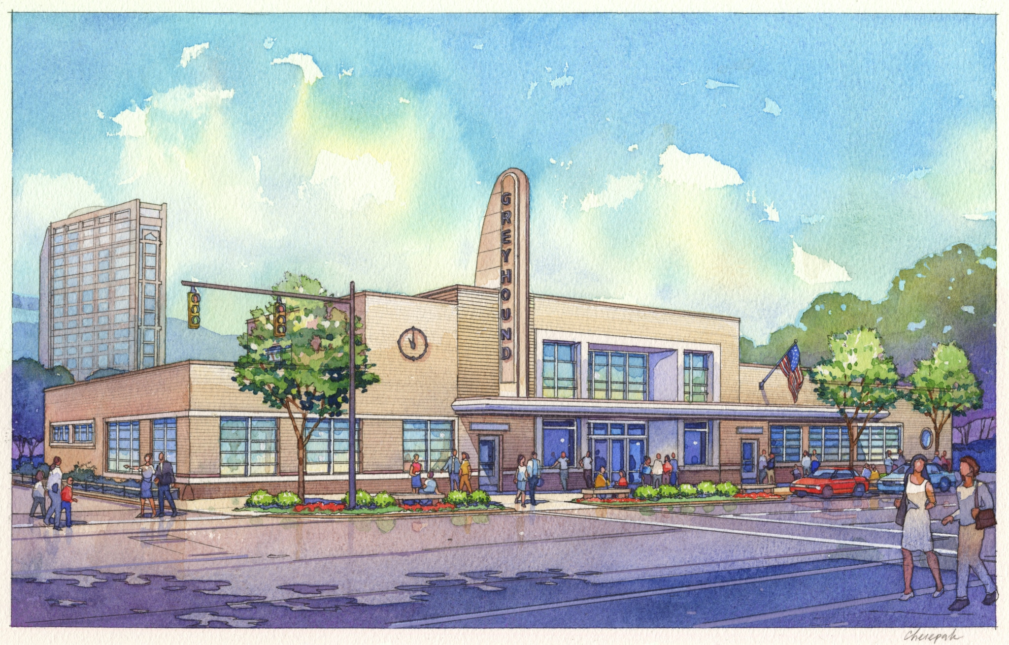 rendering for the redone Greyhound Station