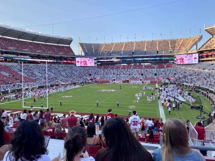 Bryant-Denny football stadium at 25% capacity.