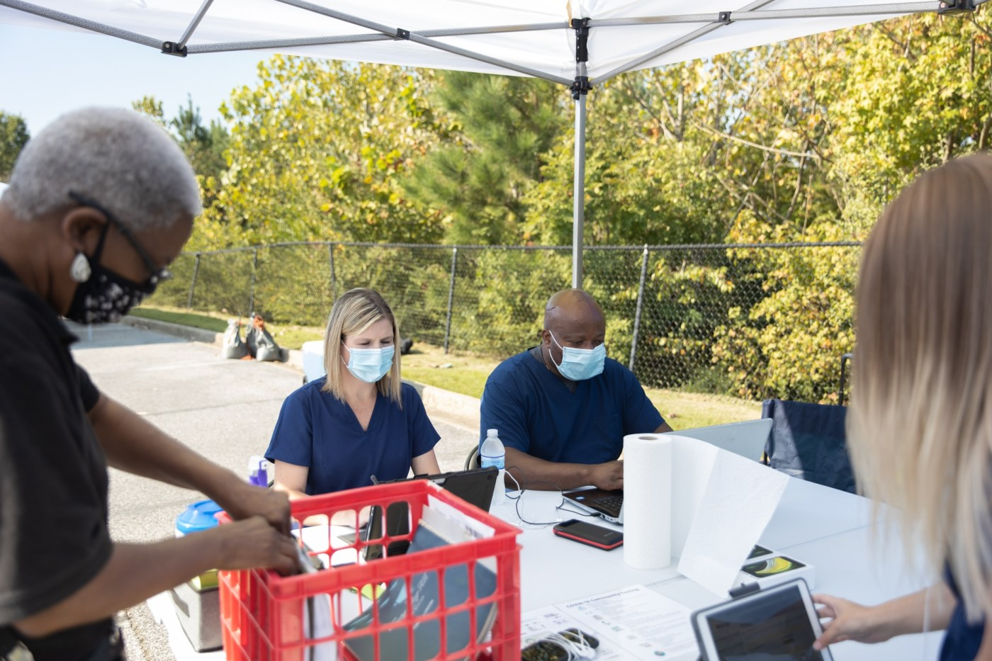 Health professionals at a community-based testing center in Birmingham
