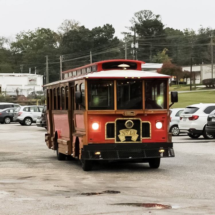 Cahaba Heights bright red trolley - Christmas parades in Birmingham