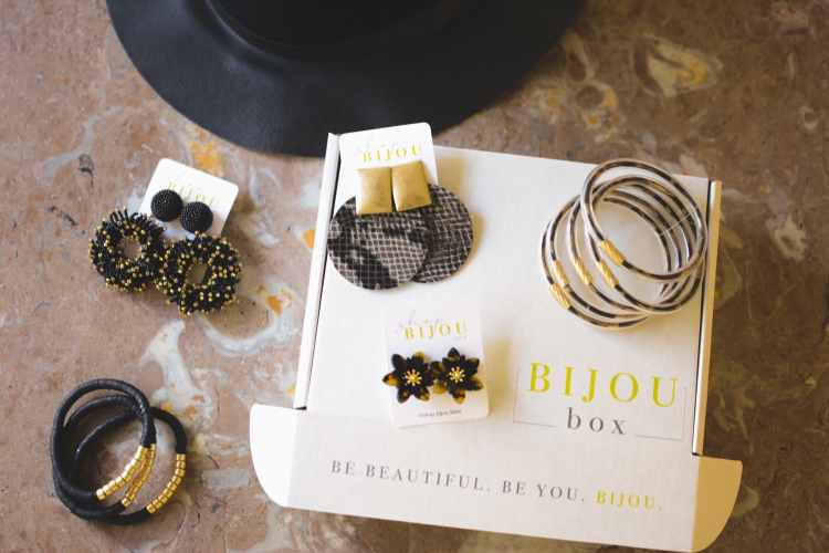 Gold and black jewelry from Bijou