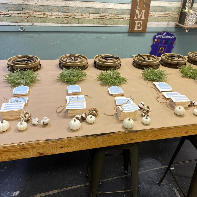 Table with DIY ornaments