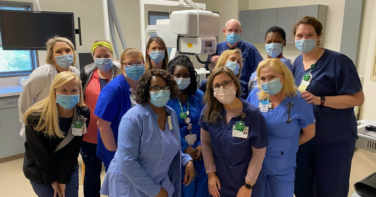 Part of UAB's healthcare staff all masked up