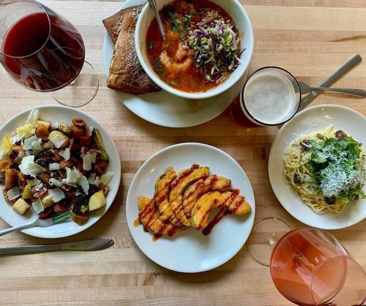 Soup, pasta and salad at Trattoria Zaza