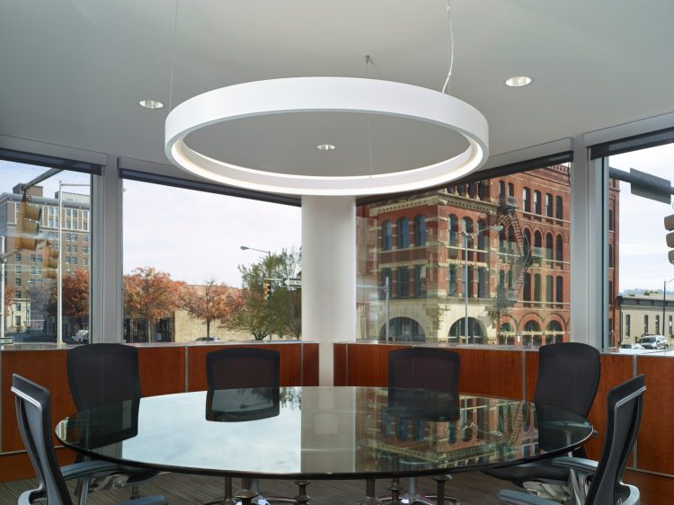 round conference room in an office of the future designed by Williams Blackstock Architects