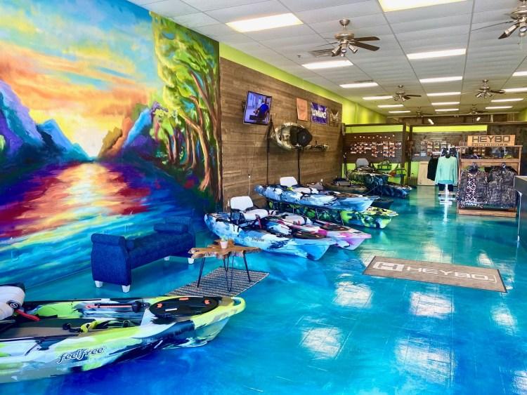 The Yak Shak Pelham kayaks and apparel in store