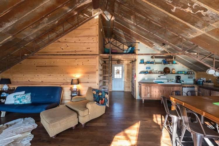 Wooden cabin living room and kitchen - Birmingham getaway