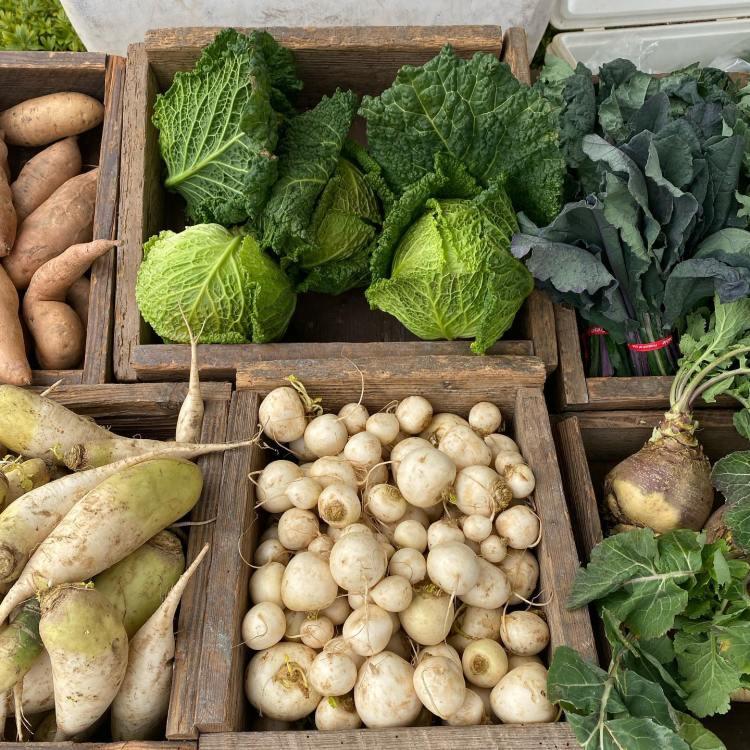 Produce from Birdsong farmers market in Birmingham