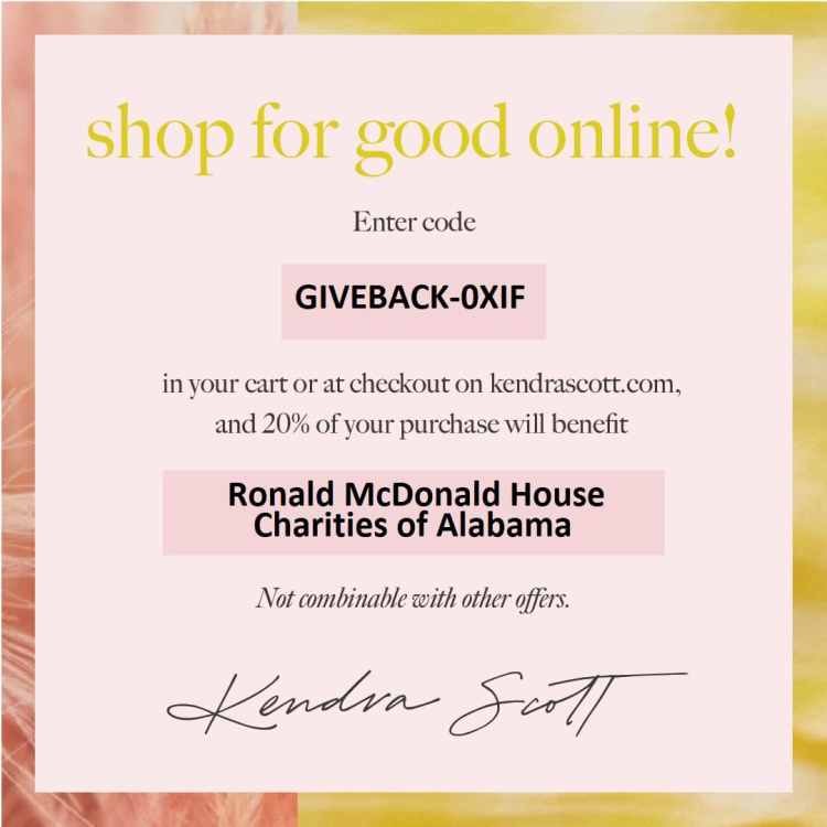 Kendra Scott promotional flyer, send a valentine to the Ronald McDonald House in Birmingham
