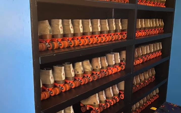 Shelves of roller skates at Trussville Playstation