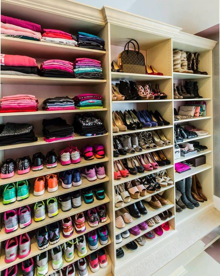 shoes and purses in a closet