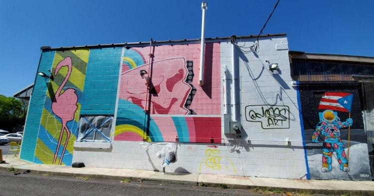 Flamingos, skulls and geometric shapes fill this new murals