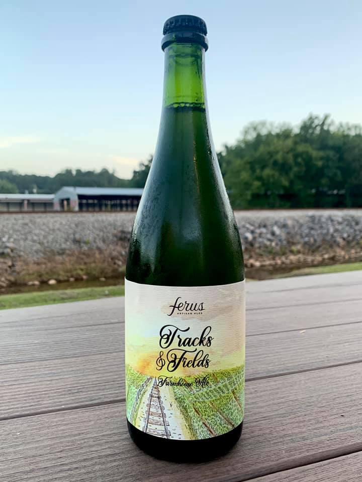 green glass bottle of farmhouse ale
